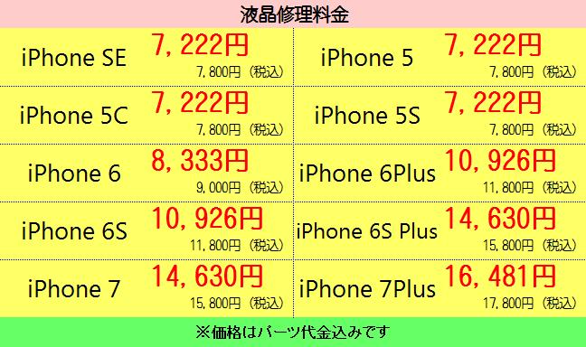 iPhone修理液晶交換修理価格