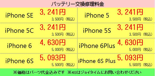 静岡市清水区のiPhone修理(バッテリー交換)料金表ハウマッチ・ジョイタイム