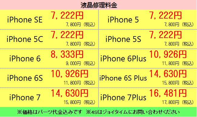 静岡市清水区のiPhone修理(液晶交換)料金表ハウマッチ・ジョイタイム
