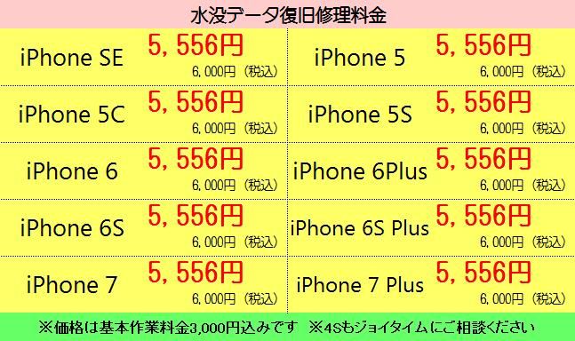 静岡市清水区のiPhone修理(水没復旧)料金表ハウマッチ・ジョイタイム
